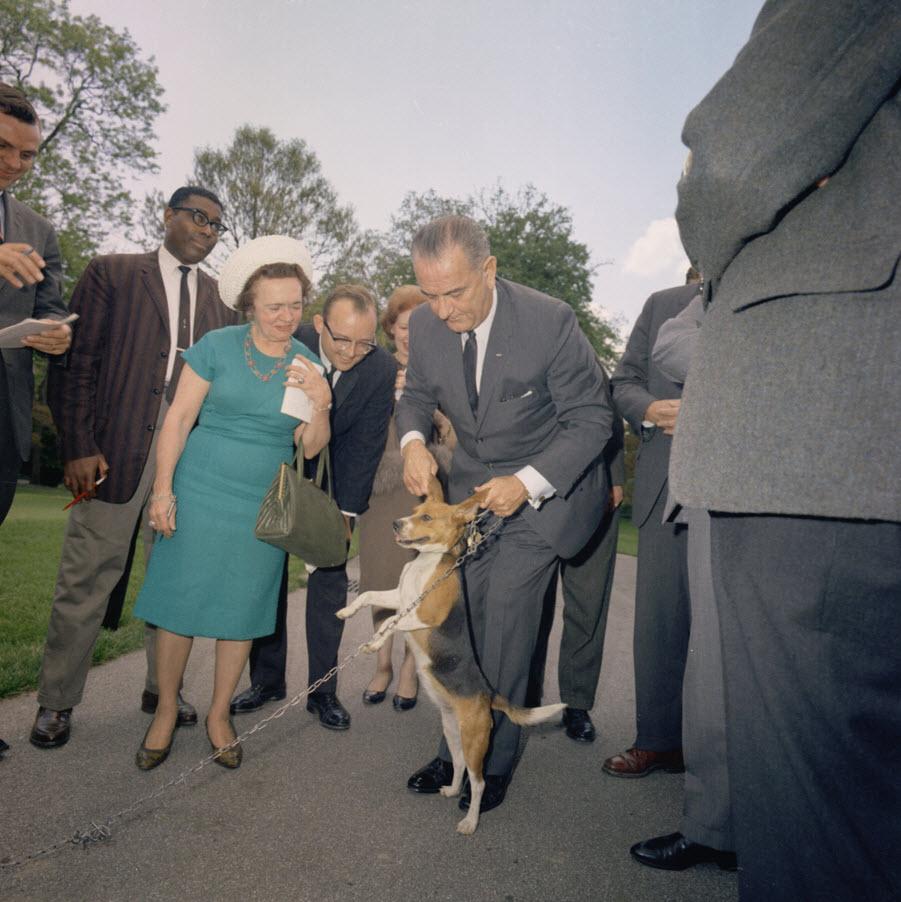 US Präsident Lyndon Johnson mit Beagle