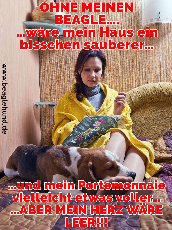 Eine Frau und ihr Beagle im Bett