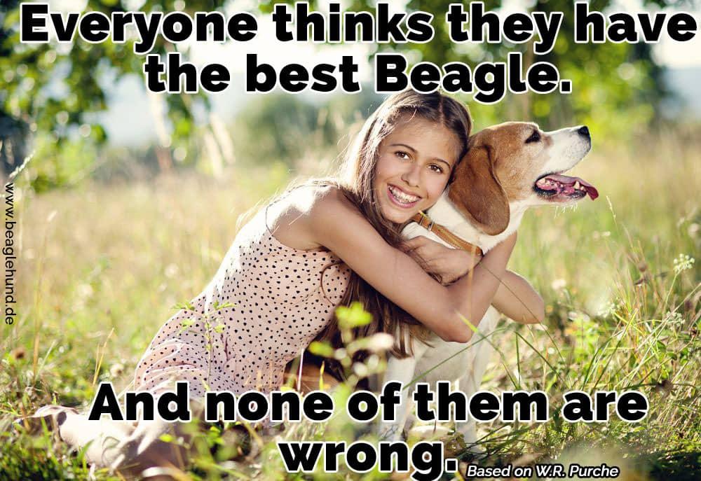 Eine Frau umarmt ihren Beagle